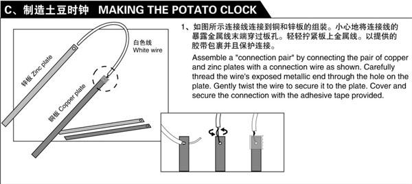 how to make a potato battery clock